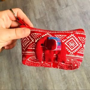 Handbags - Mini Red Lucky Elephant Mini Coin Purse Keychain